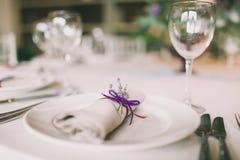 Servilleta adornada para una boda Imágenes de archivo libres de regalías