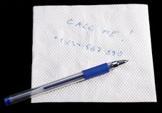 Servilleta con la nota Imagenes de archivo