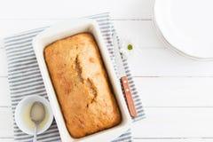 Servilleta rayada de la torta del limón Fotografía de archivo