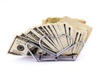 Servilletas de cientos dólares Imagen de archivo libre de regalías