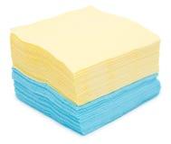 Servilletas de papel amarillas y azules Imágenes de archivo libres de regalías
