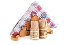 Servilletas de papel en tenedor y palillos Fotografía de archivo