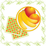Servilletas y plato con las frutas Fotografía de archivo libre de regalías
