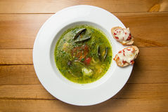 Servindo o estilo tailandês da sopa picante dos peixes sobre imagem de stock