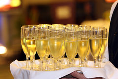 Serving. Champagne at the entrance Stock Images