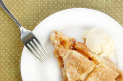 Serving of Apple Pie with Lattice Top Royalty Free Stock Images