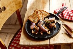 Serving of assorted wild venison fillets royalty free stock photography