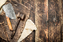Serving background. Old kitchen tools cutting Board. Stock Photo