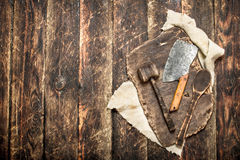 Serving background. Old kitchen tools cutting Board. Royalty Free Stock Photo