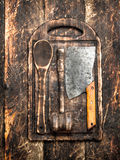 Serving background. Old kitchen tools cutting Board. Royalty Free Stock Photos