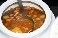 Serving Baked beans (fabada Asturiana) Stock Images