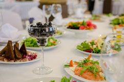 Serving banquet table Royalty Free Stock Image
