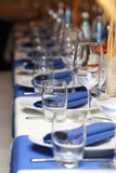 Serving banquet table in a restaurant in blue and white style Stock Photo