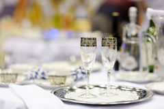 Serving beautiful dishes on the table. Stock Image