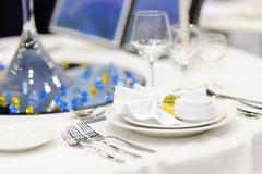 Serving beautiful dishes on the table. Royalty Free Stock Photo
