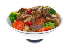 Serving of beef teriyaki with vegetables Royalty Free Stock Photo