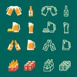 Serving beer modern flat and line vector icons vector illustration