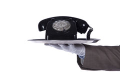 Serving the best comunication service. Businessman showing you a comunication solution stock image