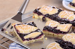 Serving Blueberry Bars Stock Photos