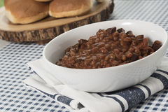 Serving Bowl of Baked Beans on Blue and White Royalty Free Stock Photography