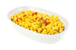 Serving bowl with cut corn and sliced peppers Royalty Free Stock Photos