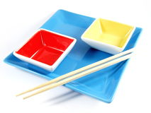 Serving Bowls with Sticks Royalty Free Stock Images