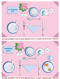 Serving breakfast. Plan for the breakfast table setting stock illustration