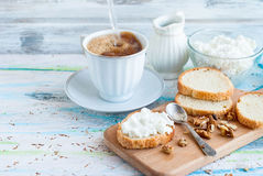 Serving breakfast sandwiches with ricotta, walnuts and honey Stock Image