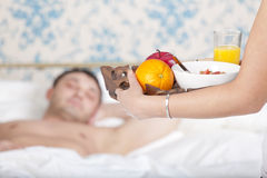 Serving breakfast to bed Stock Photos
