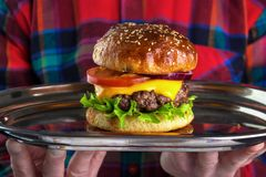 Serving burger Royalty Free Stock Photo