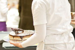Serving a cake Stock Photo