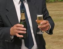 Serving Champagne. At wedding Royalty Free Stock Image
