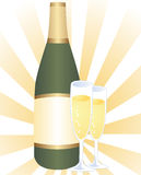 Serving of champagne. Bottle and two glasses of bubbly champagne Stock Photography