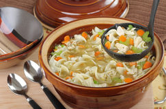 Serving Chicken Noodle Soup Stock Image