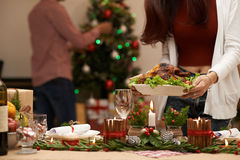 Serving Christmas table Royalty Free Stock Photos