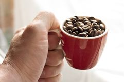 Serving coffee. Close up of hand serving coffee. Impression about drinking coffee Royalty Free Stock Image
