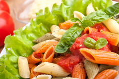 Serving of colored penne pasta Royalty Free Stock Photography