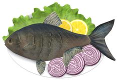 A serving of cooked raw whole fish on a plate with onions, lemons and lettuce. A computer generated illustration image of a serving of cooked raw whole fish on a vector illustration