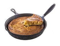 Serving Corn Bread in Cast-Iron Pan Isolated on White Stock Photo