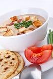 Serving of corn cream soup puree Stock Photo
