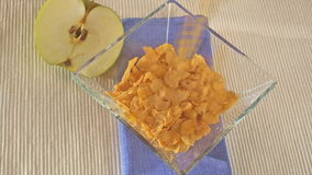 Serving corn flakes stock video