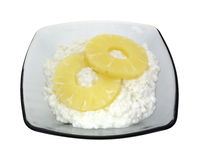 Serving of cottage cheese and pineapple Royalty Free Stock Photos