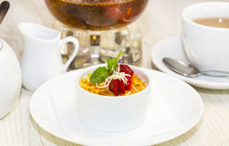 Serving of cream brulee Stock Photos