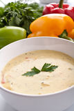 Serving of cream soup Royalty Free Stock Photo