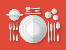 Serving cutlery flat Royalty Free Stock Images