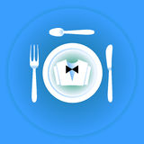 Serving cutlery and napkin. Clothing waiter. Stock Photos