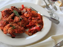 Serving of delicious Chicken Cacciatore Stock Photo