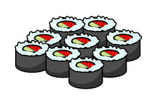 Serving of delicious seafood sushi Royalty Free Stock Photography