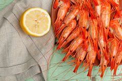 Serving of delicious whole shrimp Royalty Free Stock Image