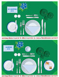 Serving dinner. Plan for the waiters to the table setting for breakfast vector illustration